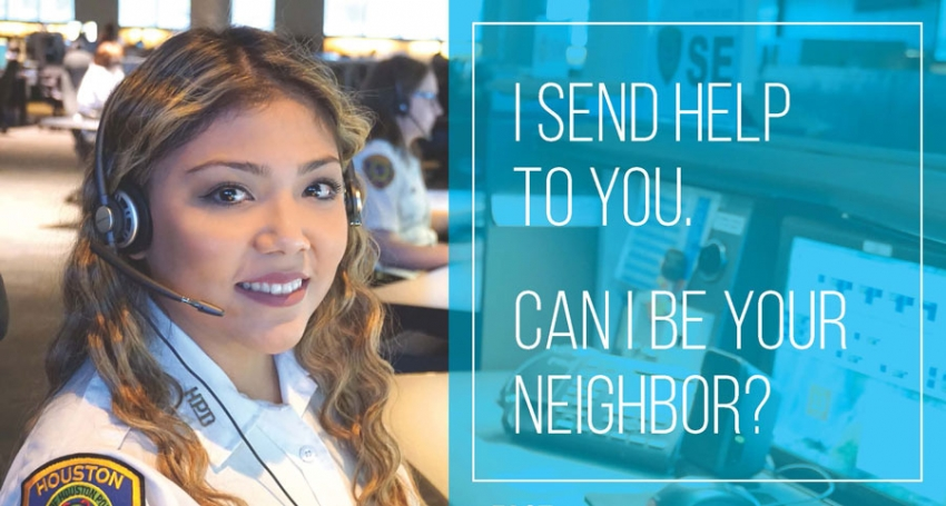 "Gabrielle Gomez, an HPD 911 telecommunicator, participated in the HCDD ""Say Yes,"" campaign promoting fair housing."