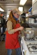 Dawn Knapp prepares dinner in the Desperado's state-of-the-art cook shack.